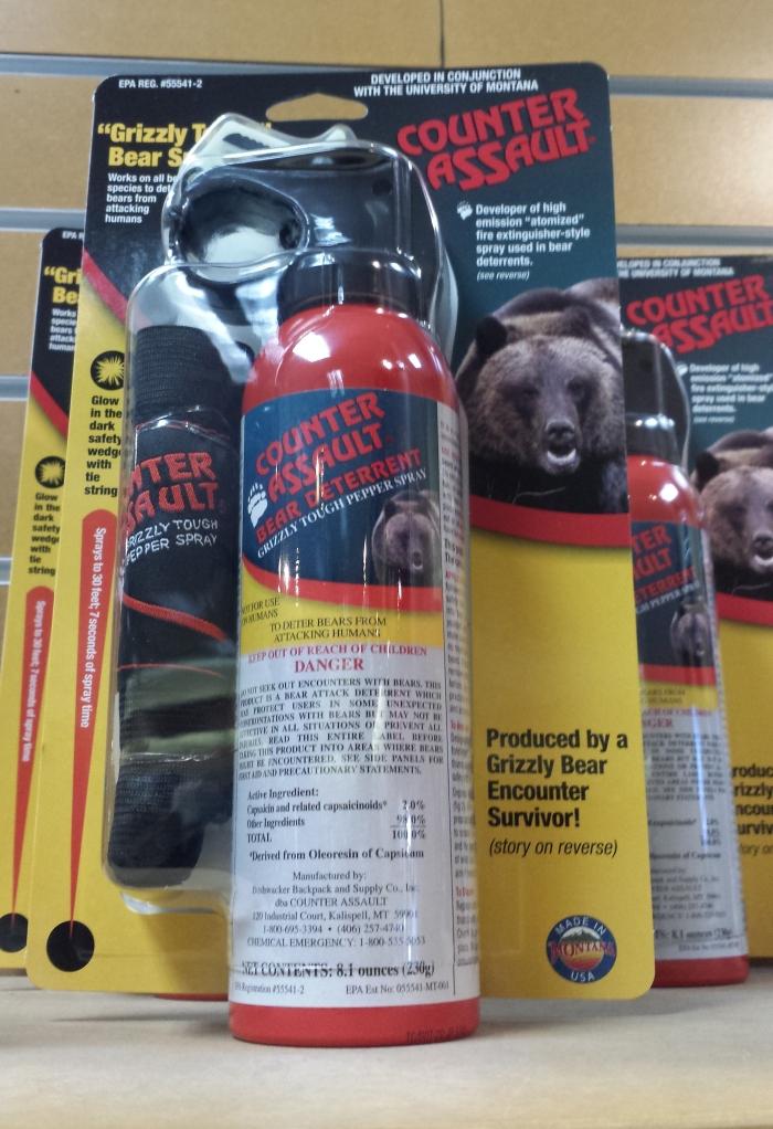 Bear Spray en vente dans les boutiques du parc - 50$